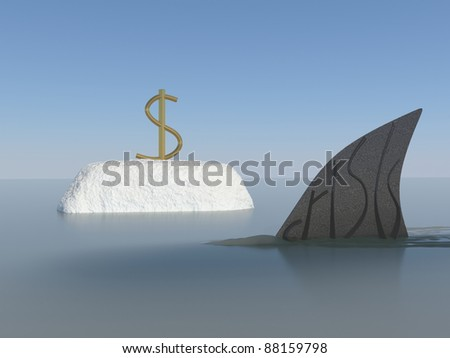 Economic meltdown with american dollar symbol and shark fin conceptual creative design. Thinking out side the box. - stock photo