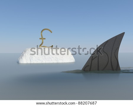 Economic meltdown with pound sterling and shark fin conceptual creative design. Thinking out side the box. - stock photo