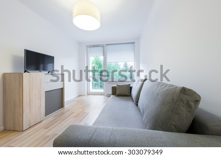 Economic, modern sleeping room interior design in scandinavian style - stock photo