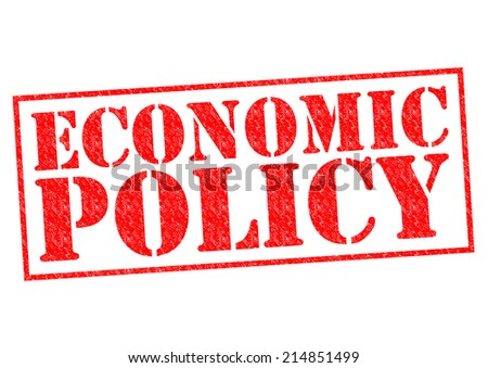ECONOMIC POLICY red Rubber Stamp over a white background. - stock photo