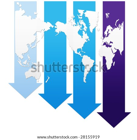 Economic recession graph with world map, abstract illustration - stock photo