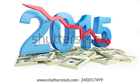 economic recession in 2015 on a white background  - stock photo