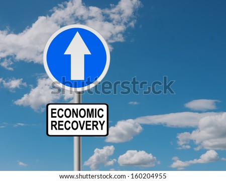 Economic recovery sign over sky - up - stock photo