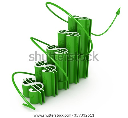 economic success of the dollar chart in the design of the information related to the increase in the dollar - stock photo