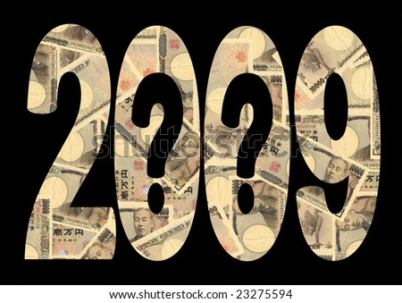 economic uncertainty 2009 with question marks and Japanese Yen - stock photo