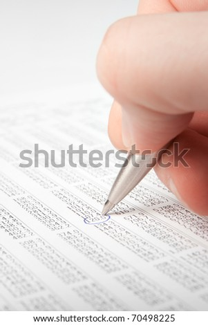 Economical analysis - sheet with gdp numbers - stock photo