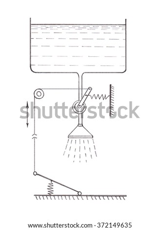 Economical use of water in the shower. Pencil drawing - stock photo