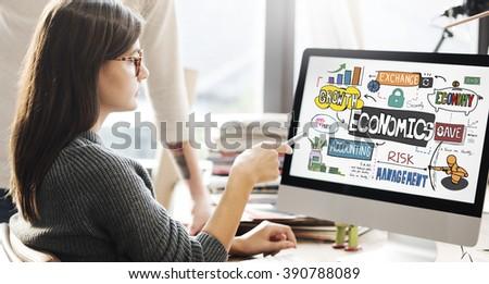 Economics Money Cash Flow Graphics Concept - stock photo