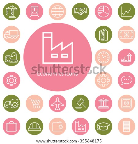 economics outline, thin, flat, digital icon set for web and mobile