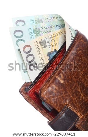 Economy and finance. Wallet with money paper currency polish zloty banknote isolated on white background