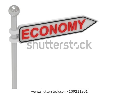 ECONOMY arrow sign with letters on isolated white background