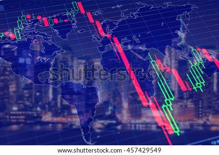 Economy crisis, global recession concept. Stock market graph down, collapse stock market graph as symbol of global economy crisis. Financial, stock market background, economic crisis concept image.