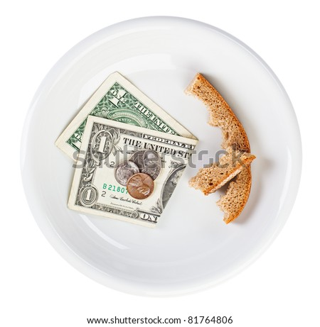 Economy crisis of USA dollar currency concept photo with bread crust on white plate - stock photo