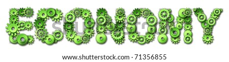 economy gears cogs text green environment money recycle industry industrial symbol business - stock photo