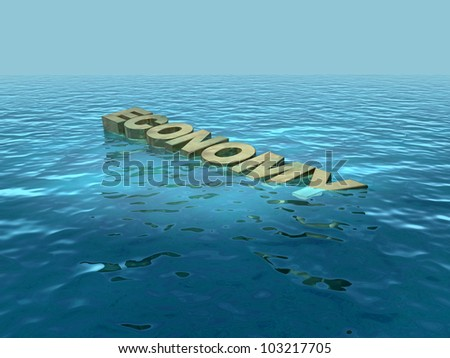 Economy going down, sinking - stock photo