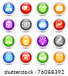 Economy Icon on Reflective Button Collection Original Illustration - stock vector
