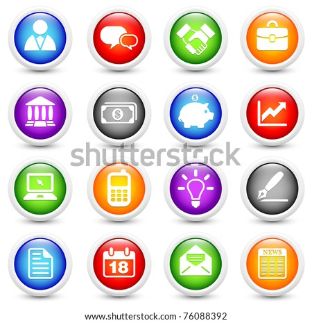 Economy Icon on Reflective Button Collection Original Illustration - stock photo