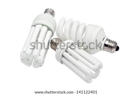 Economy lamps isolated on white background - stock photo