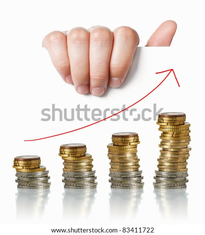 Economy positive charts: hand holding white paper with money and arrow up - stock photo