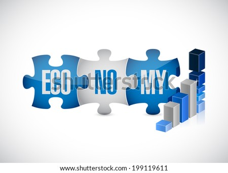 economy puzzle pieces graph illustration design over a white background - stock photo