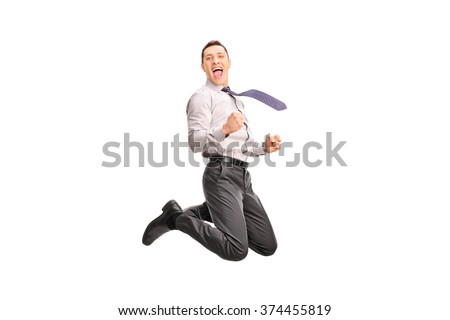 Ecstatic businessman jumping in the air and gesturing happiness isolated on white background - stock photo