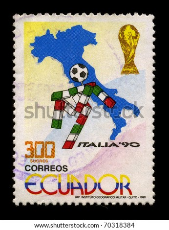 ECUADOR-CIRCA 1990:A stamp printed in ECUADOR shows image of The 1990 FIFA World Cup was the 14th FIFA World Cup, the quadrennial international football world championship tournamentl, circa 1990. - stock photo