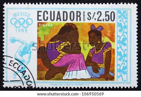 ECUADOR - CIRCA 1967: a stamp printed in the Ecuador shows Two Women, Painting by Diego Rivera, Summer Olympics, Mexico City 68, circa 1967 - stock photo