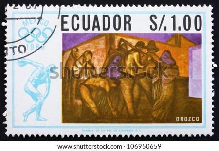 ECUADOR - CIRCA 1967: a stamp printed in the Ecuador shows Workers, Painting by Jose Orozco, Summer Olympics, Mexico City 68, circa 1967 - stock photo