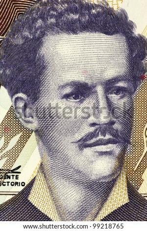 ECUADOR - CIRCA 1999: Juan Montalvo (1832-1889) on 5000 Sucres 1999 Banknote from Ecuador. Ecuadorian author and essayist. - stock photo