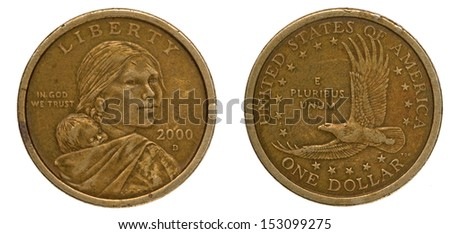 Ecuador dollar coin isolated on white  - stock photo