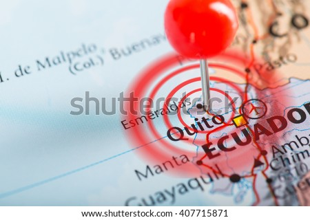 Ecuador earthquake with map pin point damage and loss. - stock photo