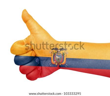 Ecuador flag on thumb up gesture like icon on white background - stock photo