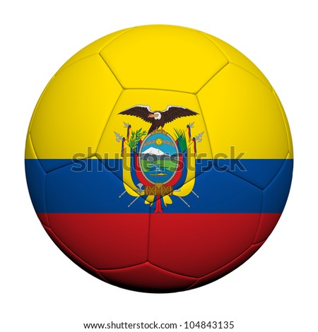 Ecuador Flag Pattern 3d rendering of a soccer ball - stock photo