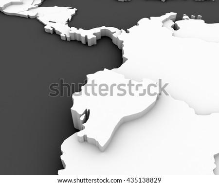 ecuador map 3D - stock photo