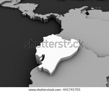 ecuador map 3D illustration - stock photo