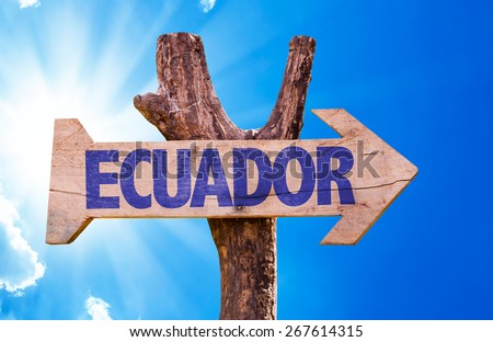 Ecuador wooden sign with sky background - stock photo