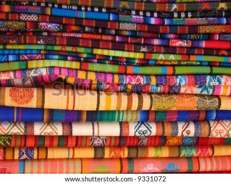 Ecuadorian Blankets for Sale in Otavalo Market - stock photo