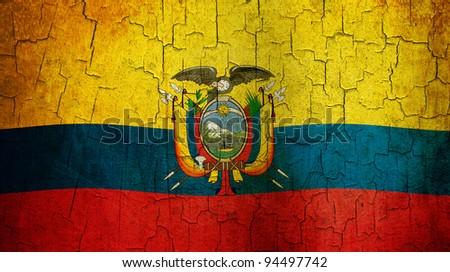 Ecuadorian flag on a cracked grunge background - stock photo