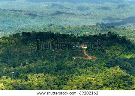 Ecuadorian part of the Amazon basin, high point of observation. - stock photo