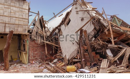Ecuadorian Village Houses Destroyed By The April 16Th, 2016 Earthquake Measuring 7.8 On The Richter Scale, South America  - stock photo