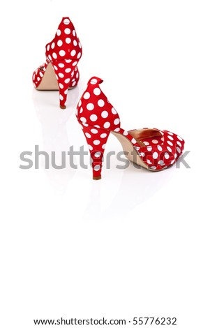 ed High Heels Ladies Shoes with polka dots - stock photo