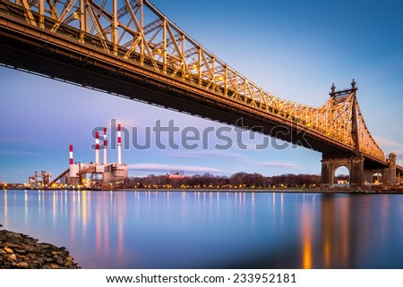 Ed Koch (aka Queensboro) bridge and the Ravenswood generating station as viewed from Roosevelt Island in New York - stock photo