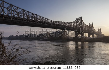 Ed Koch Queensboro Bridge, also known as the 59th Street Bridge �¢?? because its Manhattan end is located between 59th and 60th Streets - stock photo