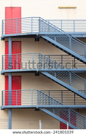 ed spiral stairs of Singapore's  Village - stock photo