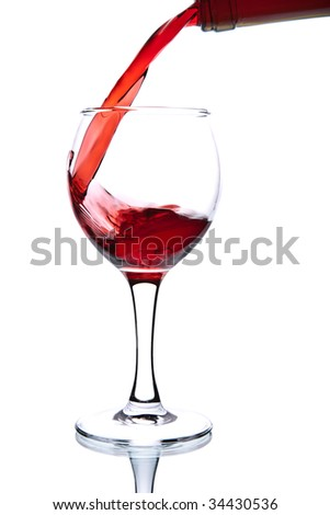 ed wine pouring into glass isolated