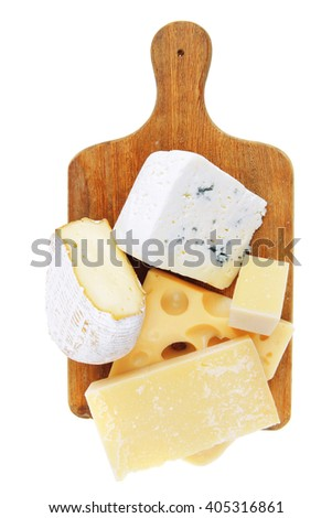edam parmesan and brie cheese on wooden platter isolated on white background - stock photo