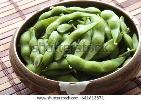 Edamame - Japanese food,boiled green soybeans