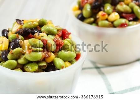 Edamame salad / Mediterranean salad, shallow depth of filed - stock photo