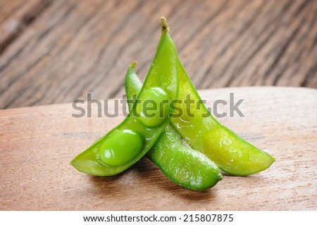 edamame soybeans, boiled green soybeans - stock photo