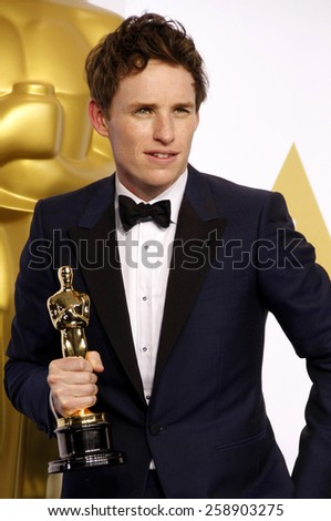 Eddie Redmayne poses in the press room during the 87th Annual Academy Awards at Loews Hollywood Hotel on February 22, 2015 in Hollywood, California. - stock photo